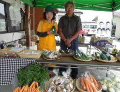 有機栽培の野菜のテント直売会
